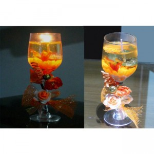 Wine glass Shaped Romantic Candle with Multicolor Led gd93